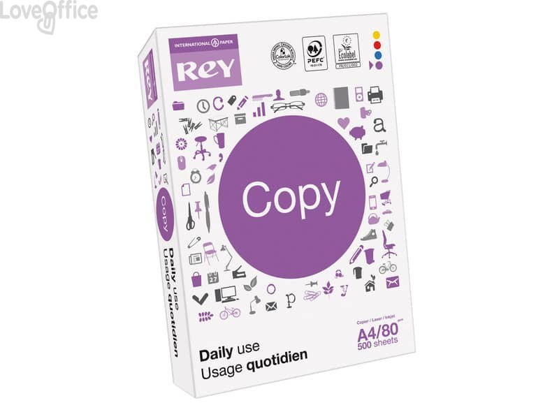 Carta per fotocopie A4 bianco INTERNATIONAL PAPER Rey Copy 153 80 g/m² CIE 500 ff (conf.5)