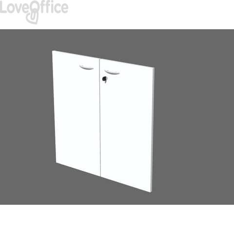 Coppia ante con serratura Artexport in melaminico per mobile basso Presto 80x67 cm bianco - 60067/M/3