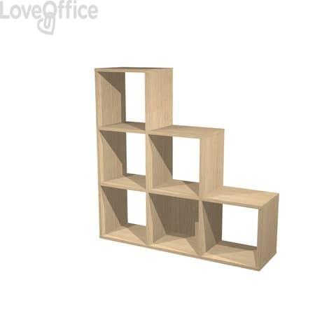 Libreria componibile Artexport Maxicube - 6 caselle scalare Rovere 6DMaxC-C