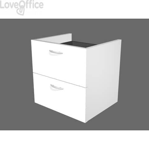 Coppia di cassetti per libreria componibile Artexport Protocollo - Bianco - 36x29x33,5 cm