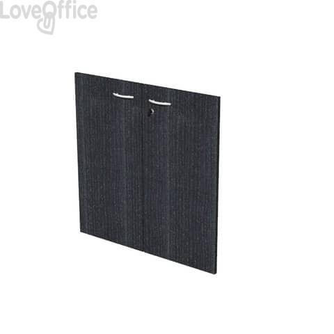 Coppia ante con serratura Artexport in melaminico per mobile basso Presto 80x67 cm nero venato frassino - 60067/M/8