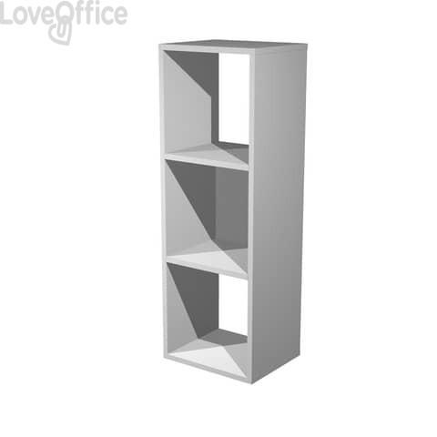 Libreria componibile Artexport Maxicube - 3 caselle Grigio alluminio - 35,9x29,2x103,9 cm