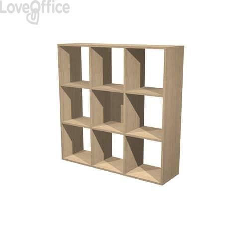 Libreria componibile Artexport Maxicube - 9 caselle - 104 X 29,2 X 103,9 h - Rovere