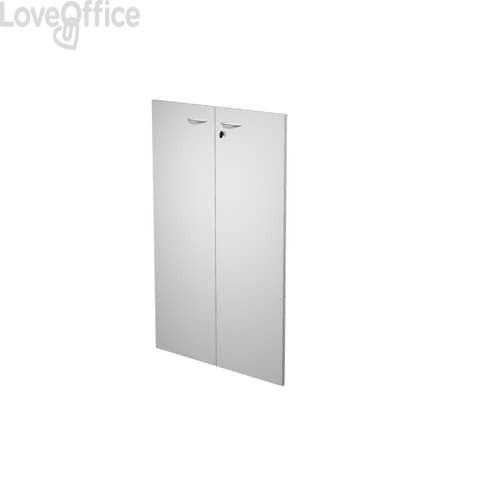 Coppia ante con serratura Artexport in melaminico per mobile medio Presto 80x115 cm grigio - 60069/M/9