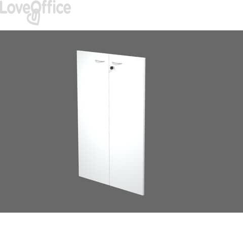 Coppia ante con serratura Artexport in melaminico per mobile medio Presto 80x115 cm bianco - 60069/M/3