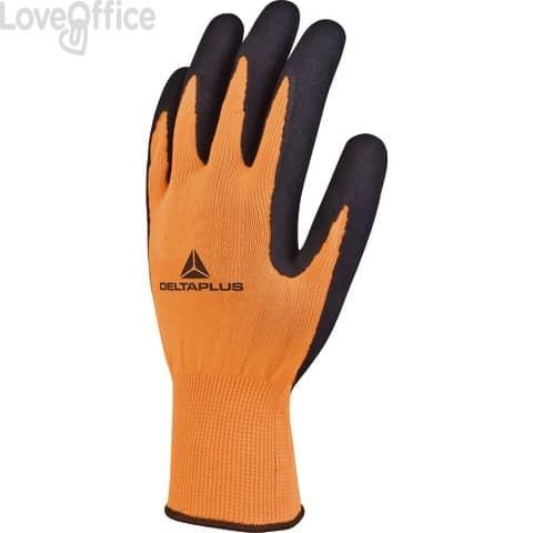 Guanto da lavoro Delta Plus in maglia poliestere - spalmatura lattice schiuma arancio-nero taglia 10 - VV733OR10