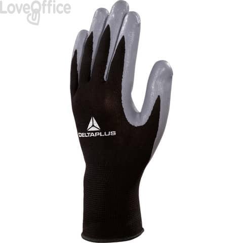 Guanto da lavoro Delta Plus in maglia di poliestere e palmo in nitrile nero-grigio taglia 9 - VE712GR09