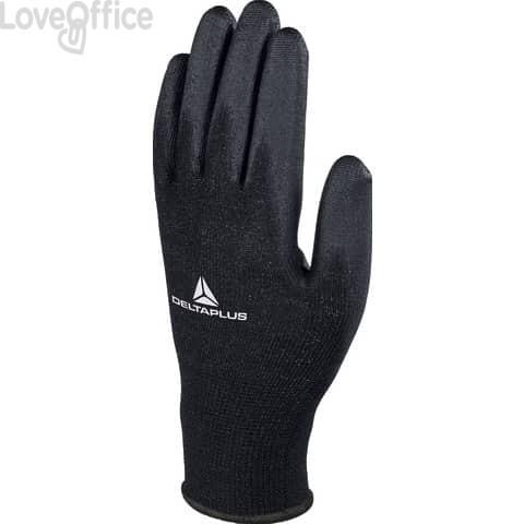 Guanto da lavoro Delta Plus in maglia di poliestere con palmo in poliuretano nero taglia 8 - VE702PN08 (conf. da 12 pezzi )
