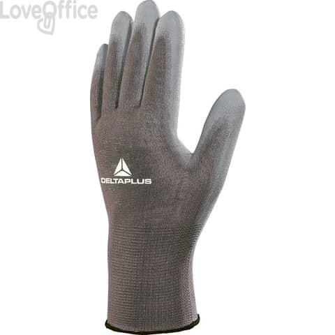 Guanto da lavoro Delta Plus in poliammide con palmo in poliuretano grigio taglia 7 - VE702GR07