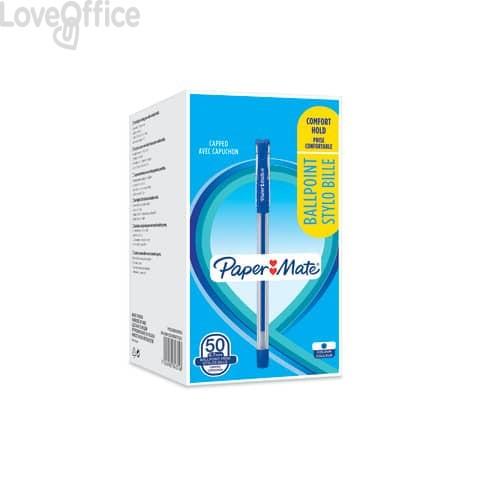 Penne a sfera con cappuccio Paper Mate PM Brite 0,7 mm Blu - 2084374 (conf. 50 pezzi)