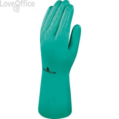 Guanto da lavoro Delta Plus Nitrile floccato cotone 33 cm verde taglia 9 - VE801VE09