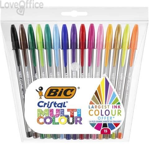 Penne a sfera con cappuccio BIC Cristal Large Multicolour 1,6 mm assortiti Conf. 15 pezzi - 964899
