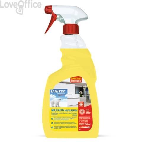 Sgrassatore alcolico disinfettante Sanitec Multi Activ multisuperficie - profumo limone - flacone 750 ml - 1838-S