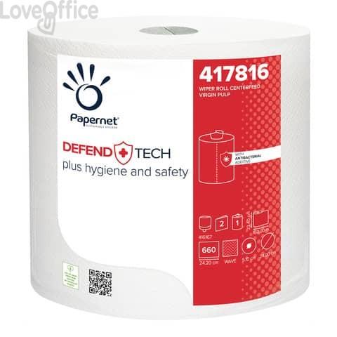 Bobina asciugatutto industriale Papernet Defend Tech - 2 veli  pura cellulosa - H 23,4 x Ø 24 cm cm - Strappo 23,4x24,2 cm - bianco - 660 strappi