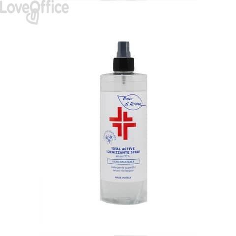 Spray igienizzante superfici (alcol 70%) 400 ml - Active linea Bosco di Rivalta - flacone trasparente - BOS014