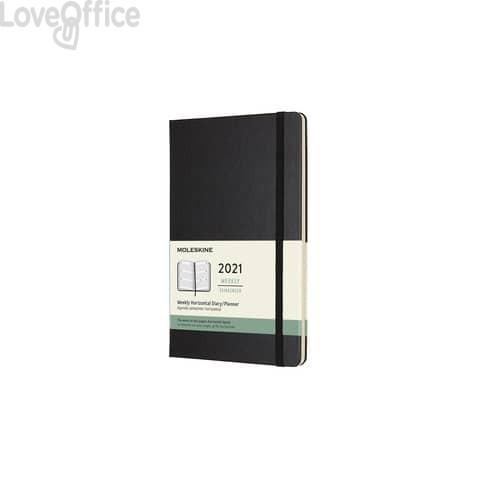 Agenda 2021 12 mesi settimanale large 13x21 cm copertina rigida - formato orizzontale - Moleskine nero DHB12WH3Y
