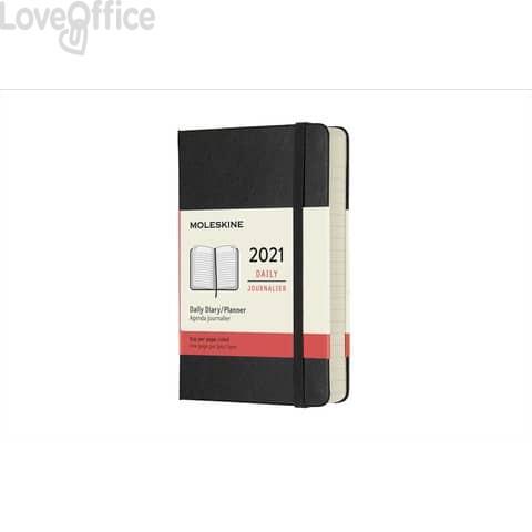 Agenda 2021 12 mesi giornaliera pocket 9x14 cm copertina rigida moleskine nero DHB12DC2Y