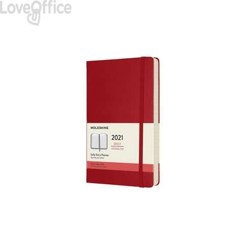 Agenda 2021 12 mesi giornaliera large 13x21 cm copertina rigida moleskine rosso - DHF212DC3Y