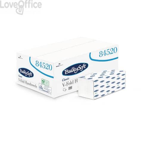Asciugamani interfogliati piagatura a V Bulkysoft Classic 24x21,5 cm bianco Cf. 15 fascette da 200 fogli - 84520.E20