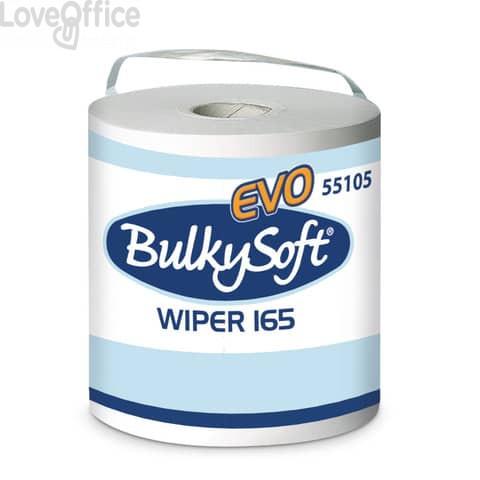 Bobine in pura cellulosa Wiper 165 evo Bulkysoft 750 strappi 2 veli bianco (conf. 2 pezzi)