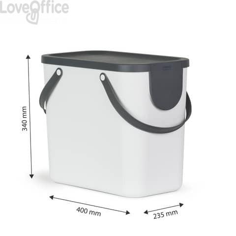 Cestino impilabile per raccolta differenziata Rotho Albula 2 maniglie bianco 25 L - F707530