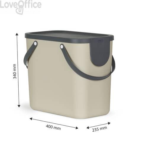 Cestino impilabile per raccolta differenziata Rotho Albula 2 maniglie cappuccino 25 L - F707534