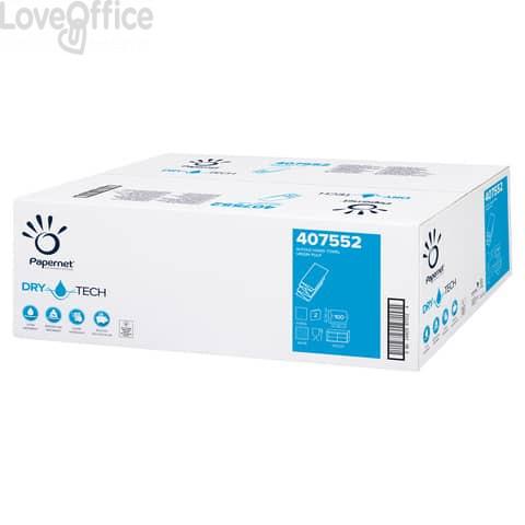 Asciugamani interfogliati piegati a W Papernet 2 veli - 32x20,3 cm - bianco Conf. 20 fascette da 100 pezzi - 407552