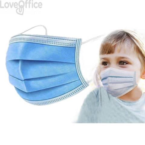 Mascherine chirurgiche monouso per bambini tipo II - Certificazione CE - colore celeste - Conf. 10 pezzi - SP101