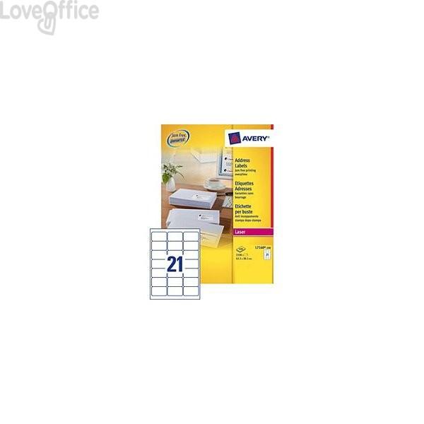 Etichette bianche QuickPeel™ x indirizzi ecologiche,FSC Avery - 63,5x38,1 mm - L7160-100 (conf.100 fogli)