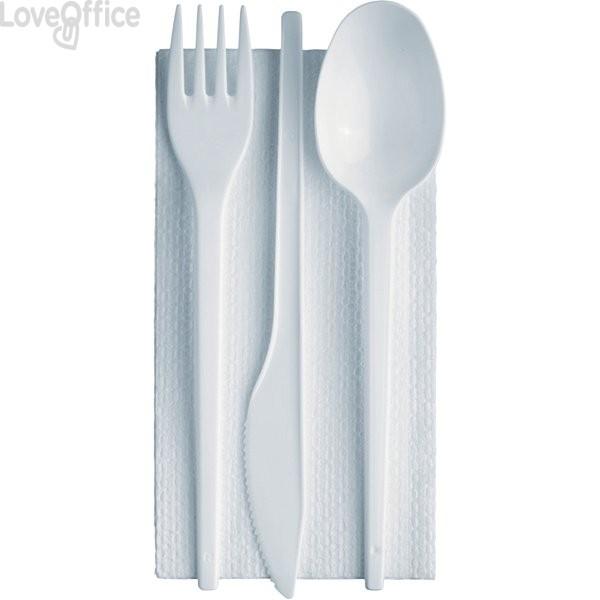 Tris posate linea plastica con tovagliolo Dopla - bianco - 03385 (conf.100)