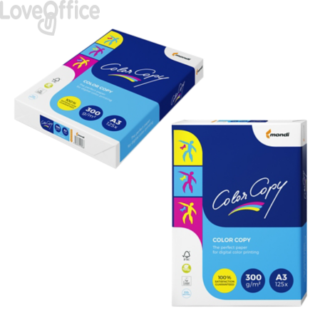 Cartoncini bianchi A3 Color Copy Mondi - Risma carta - 300 g/mq - 29,7x42 cm (125 fogli)