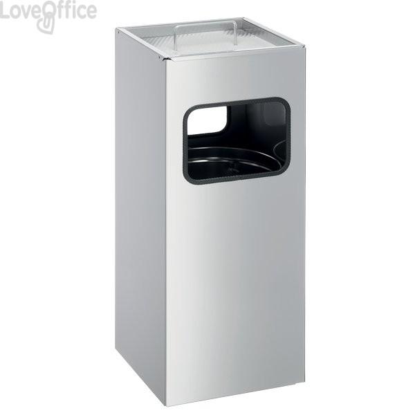 Posacenere da esterno Con Sabbia Durable - Metal Bin - Quadrato - Argento - H 62 - L 25 cm - 3331-23