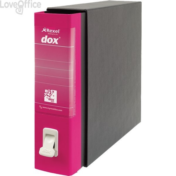 Registratore a leva Dox 2 - Protocollo - dorso 8 cm - 23x34 cm - Fucsia - D26200