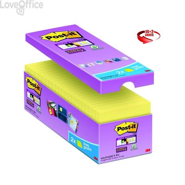 Foglietti Post-It® Super Sticky Value Pack - 76x76 mm - Giallo Canary™ - 654-Sscy-Vp16-Eu (conf. 16 blocchetti)