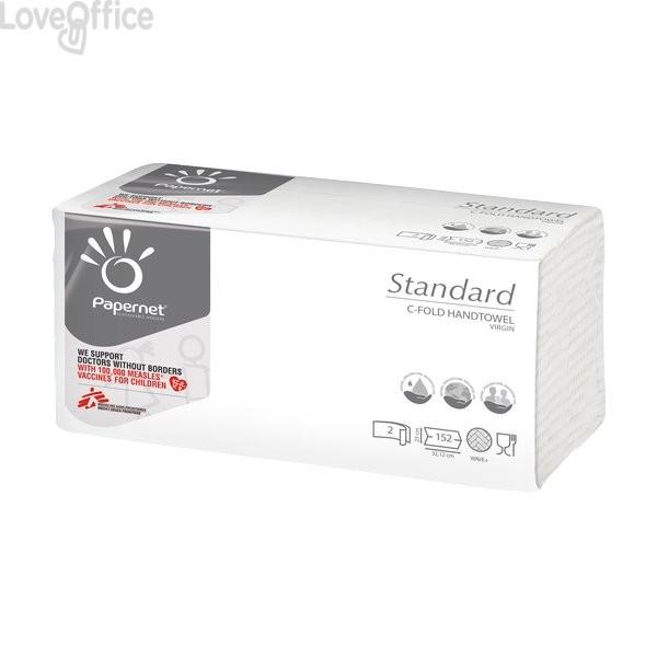 Asciugamani Interfogliati Papernet - C - 2 - Pura Cellulosa - 23x32 cm - 152 - 400790 (Conf.20)