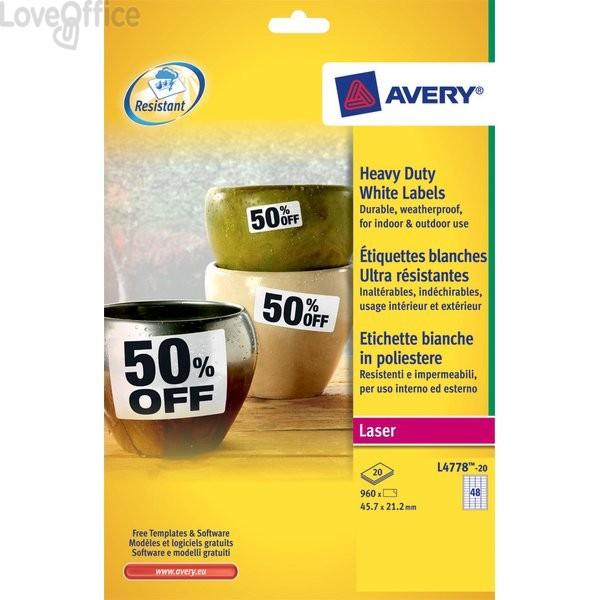 Etichette poliestere bianco e argento Laser Avery - bianco - 99,1x42,3mm (240 etichette)