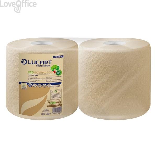 Asciugatutto Lucart - Carta ecologica naturale - 800 ff - 200m - H 25xØ 24 Ø 4,5cm - 852218 (conf.2 rotoli)