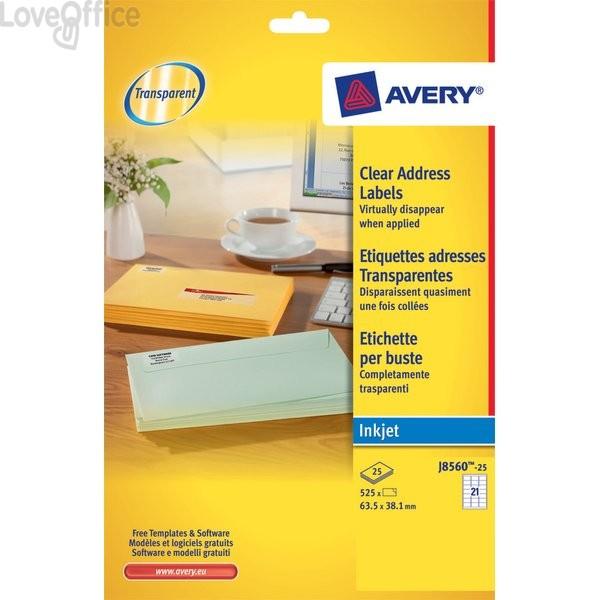 Etichette trasparenti QuickPEEL™ Avery - Inkjet - 63,5x38,1 mm - 21 et/ff - J8560-25 (conf.25)