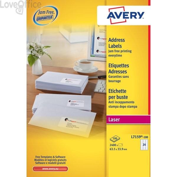 Etichette bianche QuickPeel™ x indirizzi,ecologiche,FSC Avery - 63,5x33,9 mm - L7159-100 (conf.100 fogli)