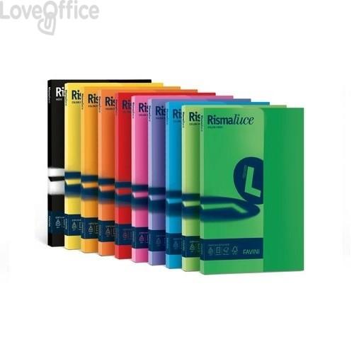 Risma cartoncini colorati - Rismaluce Favini Small - tinte forti - A4 - 200 g/mq - giallo sole (50 fogli)
