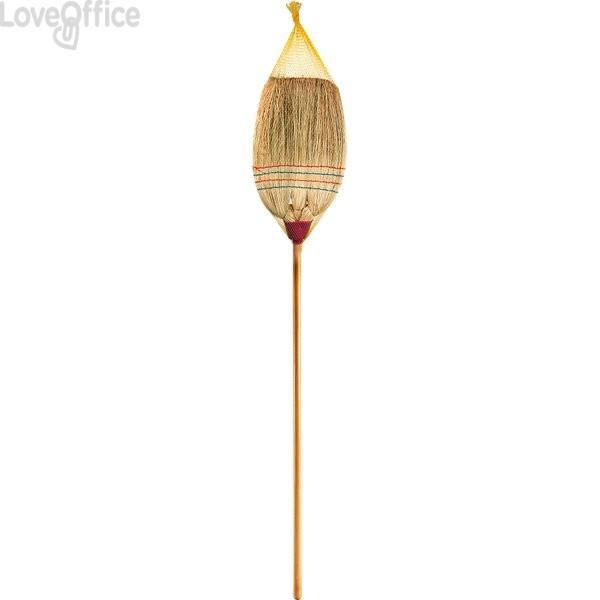 Scopa per pulizia interni ed esterni Perfetto - saggina, manico in legno - 0008