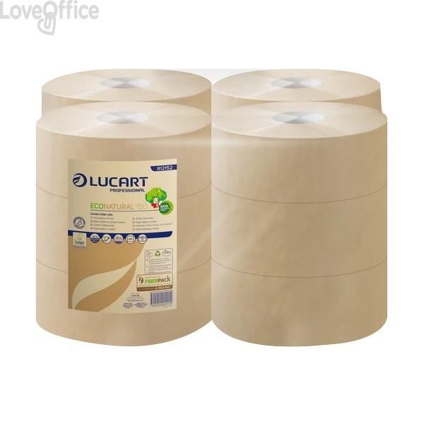 Carta igienica Eco Natural Lucart - mini jumbo - 2 veli - H 9,8xØ 18 cm - 405 strappi (conf.12)
