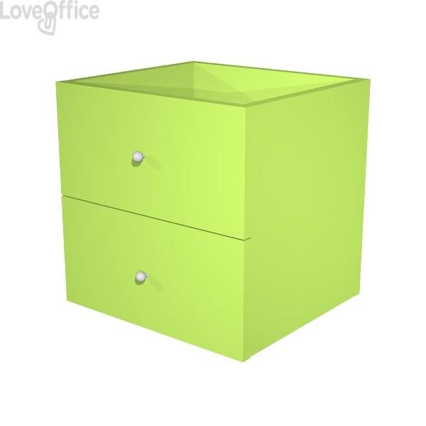 Coppia cassetti per Libreria caselle Maxicube Artexport - 32,5x28,8x32,5 cm - verde neon - 2c MaxC/V