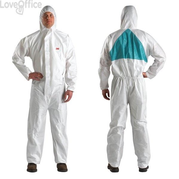 Tuta protettiva alta traspirabilità 3M - bianco e verde - 64446