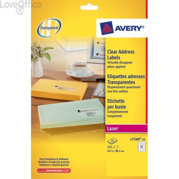 Etichette trasparenti QuickPEEL™ Avery - Laser - 63,5x38,1 mm - 21 et/ff - L7560-25 (conf.25)