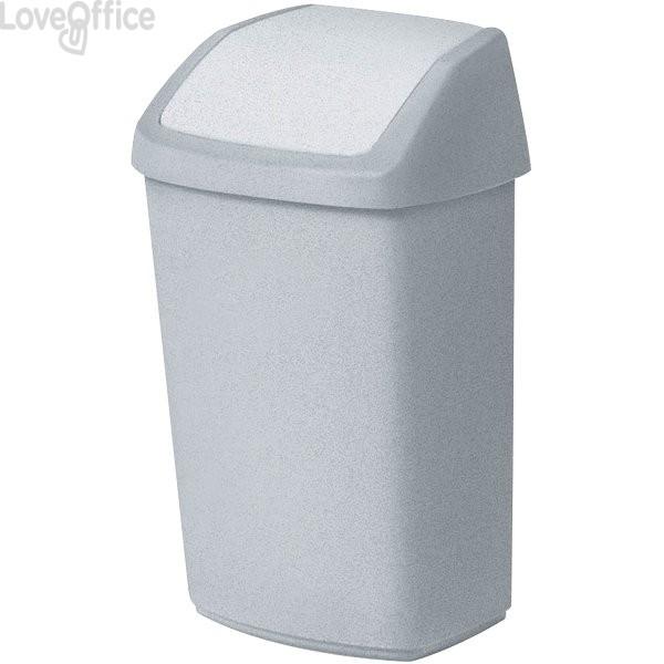 Cestino con coperchio basculante Rubbermaid - 40,6x34,1x66,8 cm - 50 l - bianco - 03987-026- R000881