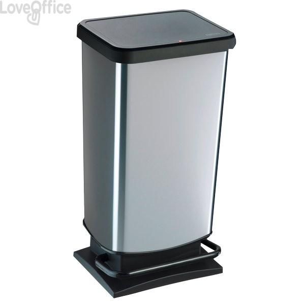Pattumiera rettangolare Rotho - 35x30x68 cm - silver - 40 litri