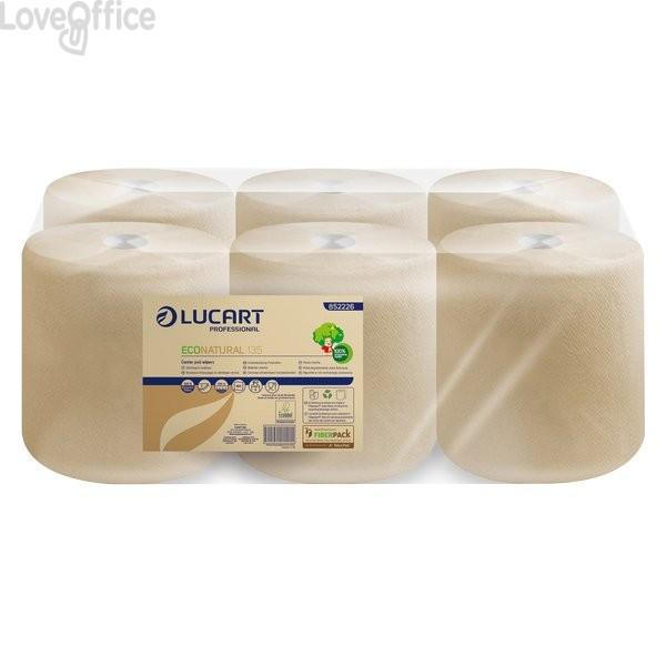 Asciugamani Eco Natural Lucart - rotolo - H 21xØ 20 cm - 450 strappi - 135 m - 2 veli - 852226 (conf.6 rotoli)