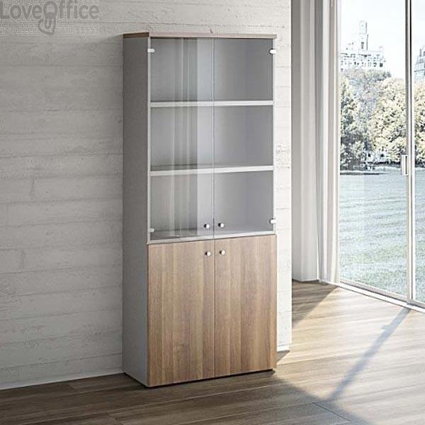 Mobile Libreria LineKit noce - Mobile ufficio con ante vetro+ legno - 4 ripiani - 90x40,1x212,5 cm