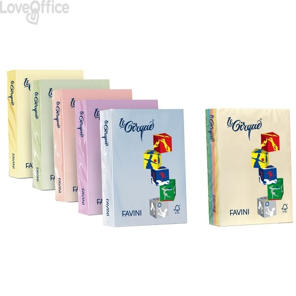 Risma carta colorata Le Cirque Favini - A4 - 80 g/mq - azzurro (risma500)